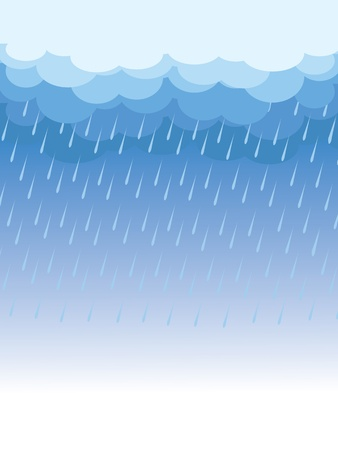 Rain.Vector image with dark clouds in wet dayのイラスト素材