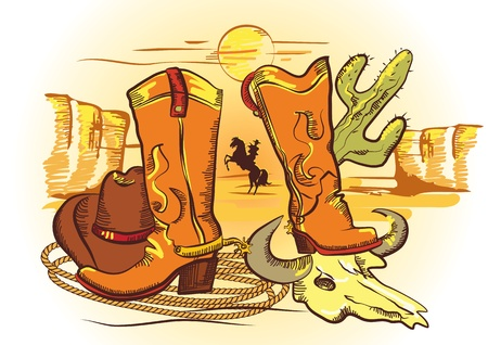 Cowboy elements with rope and shoes.Color wild western image