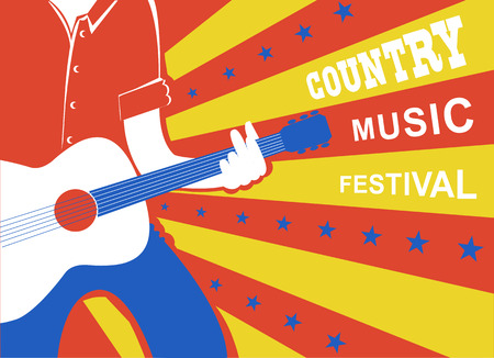 Country music background with man musician and guitar