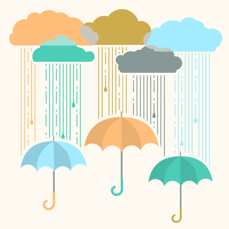 Rain.Vector image with stylish flat clouds and umbrella background