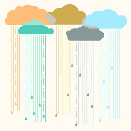 Rain.Vector image with stylish flat clouds background