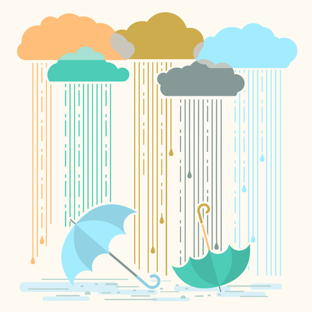 Rain.Vector illustration with stylish flat clouds and umbrellas background