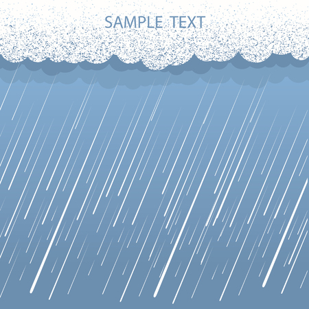 Rain background for text.Vector image with dark clouds in wet day