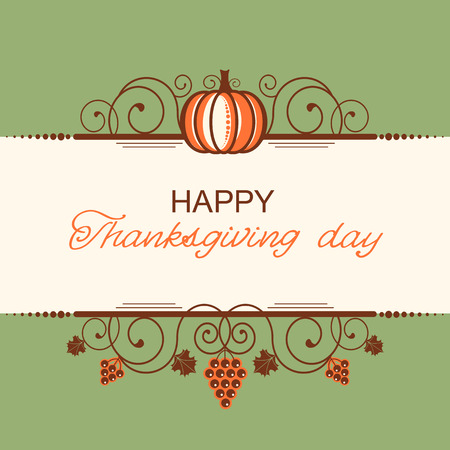 Happy Thanksgiving background with decorative vignettes and autumn ornates for text