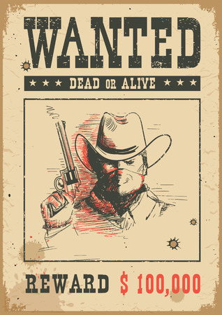 Illustration pour Wanted poster background. Vector western illustration with bandit man in mask holding a gun - image libre de droit
