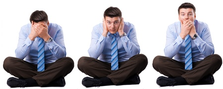 Three wise businessman that they did not hear, speak and see