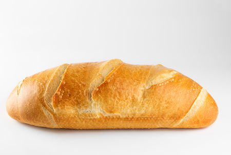 Freshly backed french bread isolated on white background