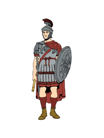 The 1st century Roman soldier in armour.