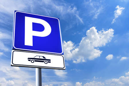 Photo for Parking signal with clouds and sky on background - Royalty Free Image