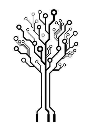 Illustration pour Conceptual logo circuit board tree isolated - image libre de droit