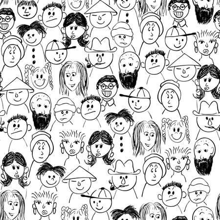 Illustration pour seamless crowd of people - image libre de droit