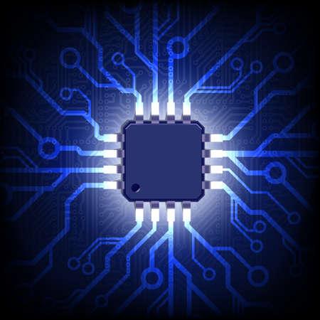 Illustrazione per Circuit board with microchip. Vector background. - Immagini Royalty Free