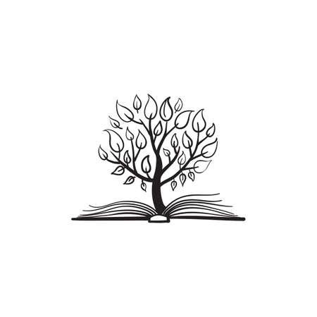Illustration pour Vector tree growing of a book - image libre de droit