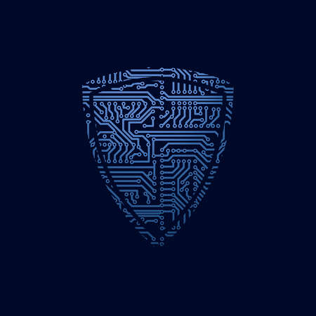 Data security icon. Circuit board shield