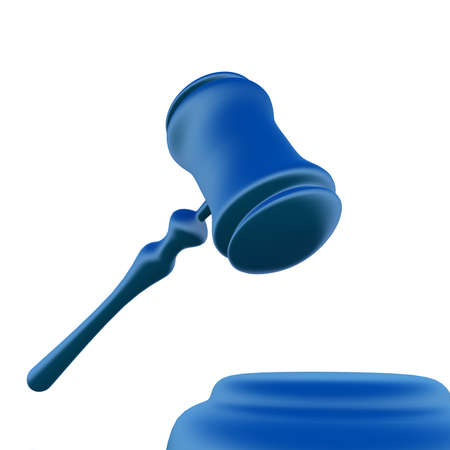 Photo for judges gavel and stand on a white background - Royalty Free Image