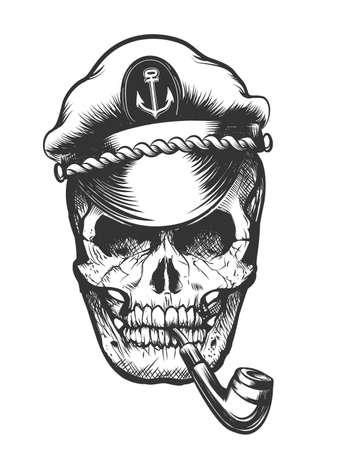 Illustration pour Human skull in captain peaked cap smoking tobacco pipe. Vector illustration. - image libre de droit