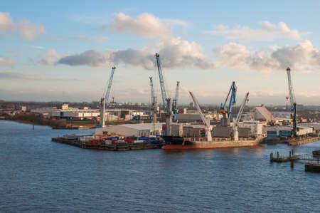 Hamburg Germany - December 16. 2017: Industrial port of Hamburg