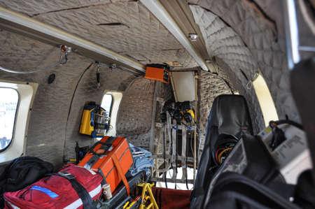 Dalvik Iceland - August 7. 2010:Inside Icelandic Coastguard Helicopter TF-LIF