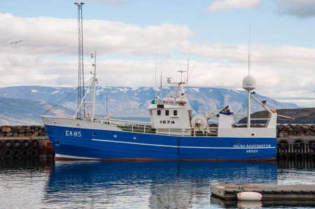 Dalvik Iceland - August 31. 2017: Fishing boat Palina Agustsdottir EA 85