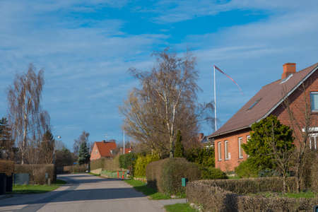 Countryside village of Gl. Kalvehave in Denmark on a sunny spring day