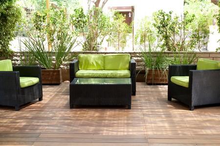 Photo pour Living place with sofa for taking rest outside the house - image libre de droit