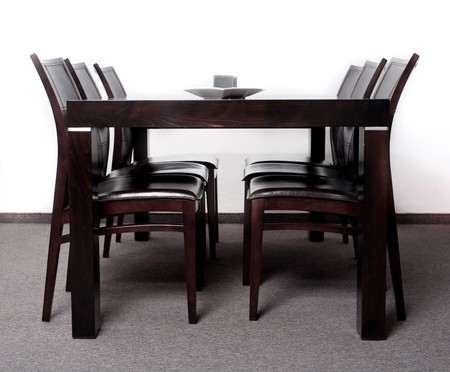 Modern wooden finished dining table with six chair set