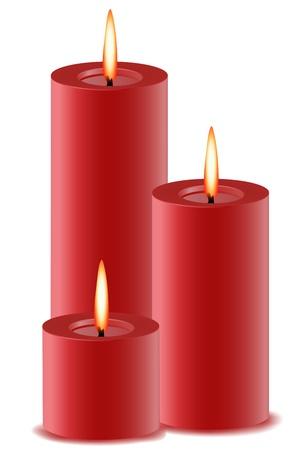 illustration of set of burning candles on isolated background