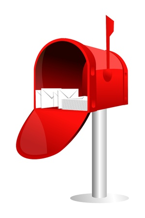 illustration of letter box with letters on white background