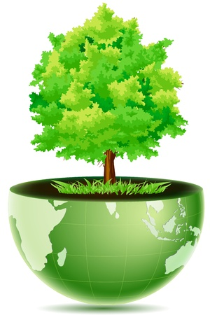 illustration of green globe with grass & tree on white background