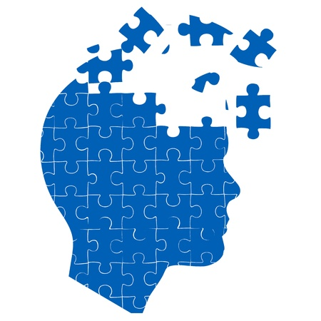 Illustration pour illustration of man's mind with jigsaw puzzle on white background - image libre de droit