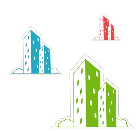 illustration of buildings on white background