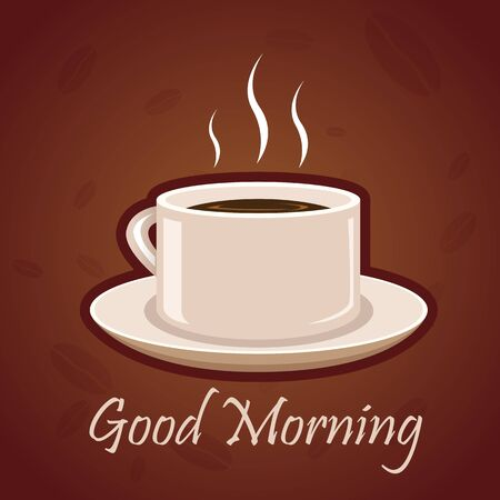 illustration of good morning card with hot coffee on white background