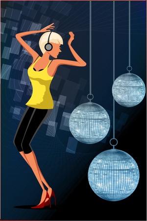 illustration of dancing girl in disco