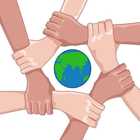 illustration of save earth with globe and hands on white background