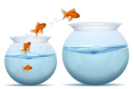 illustration of jumping fishes on tank on white background