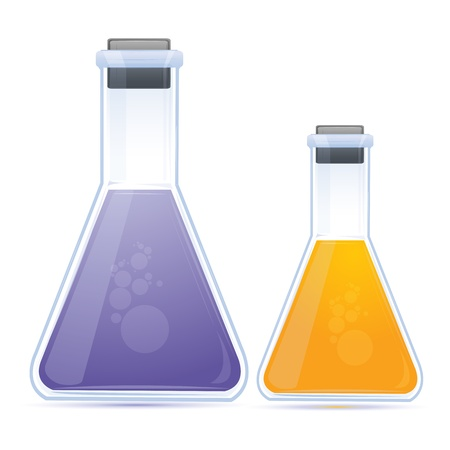 illustration of colored chemical in flask on white background
