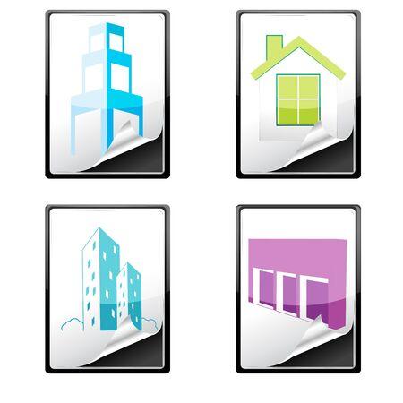 illustration of house icons on white background