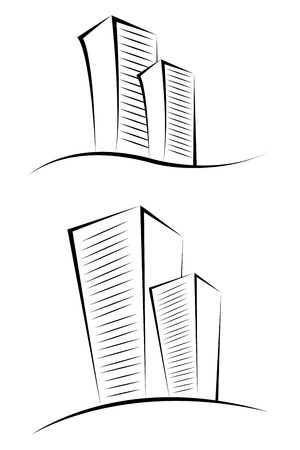illustration of sketchy buildings on isolated background