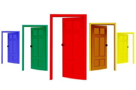 illustration of colorful open doors on isolated background