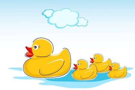 illustration of ducks in water