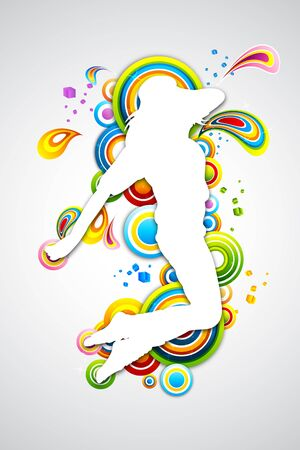 illustration ofdancing lady with colorful swirls