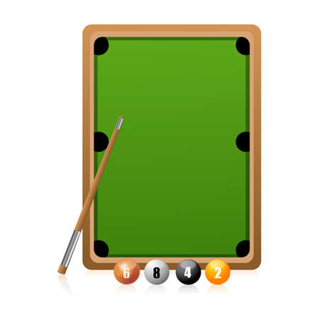 illustration of snooker play on white background