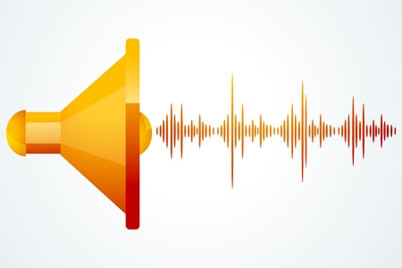 illustration of speaker with music waves on white background