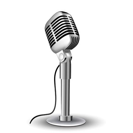 illustration of retro mic on white background