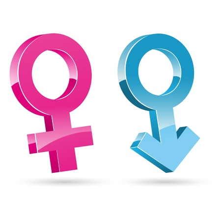illustration of male female icons on white background
