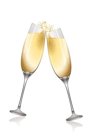 illustration of celebration with wine on white background