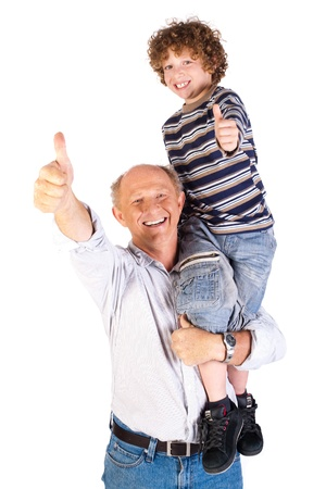 Thumbs-up pair of grandfather and grandson isolated on white background.