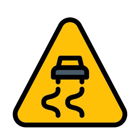 Illustration pour Slippery Road Warning - image libre de droit