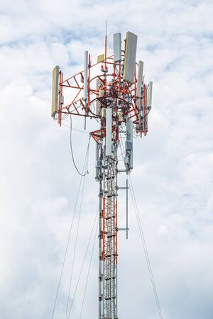 Photo for high pole and line cable telecommunication transmission for signal 5G 4G and internet in area. concept  technology - Royalty Free Image