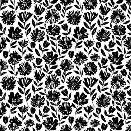Illustration pour Brush flower vector seamless pattern. - image libre de droit